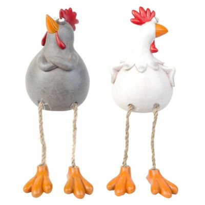 Susan & Walter the Dangly Leg Edge-Sitting Chicken Ornaments