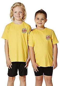 Unisex Embroidered School T-Shirt - Yellow gold