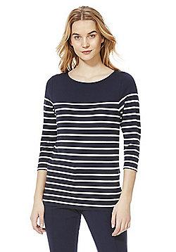 F&F Striped 3/4 Sleeve T-Shirt - Navy & White