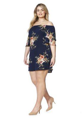 Izabel Curve Rose Print Plus Size Bardot Dress Navy Multi 22