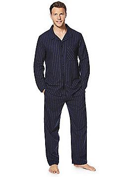 F&F Striped Flannel Pyjamas - Navy