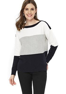 Wallis Colour Block Rib Knit Jumper Cream M