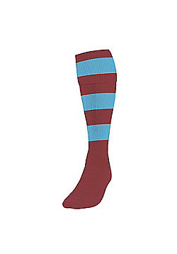 Precision Training Club Weight Stretch Nylon Hooped Football Socks - Maroon & White