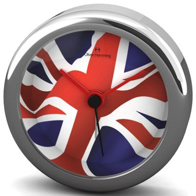 Oliver Hemming Union Jack Alloy Desire Alarm Wall Clock - 5.8cm