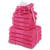 Luxury 100% Egyptian Cotton 12 Piece Face Hand Bathroom Jumbo Towel Bale Set - Sweet pink