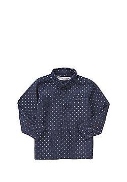 Minoti Diamond Print Chambray Shirt - Blue