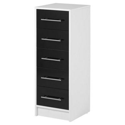 Lindon Gloss 5 Drawer Tallboy Chest, Black & White