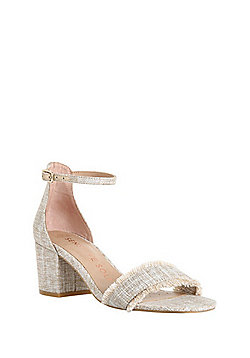 F&F Sensitive Sole Fringed Block Heel Sandals - Cream