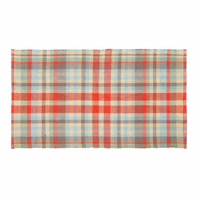 Homescapes Ramsay Handwoven Red, Blue and Cream Tartan 100% Cotton Rug, 120 x 170 cm