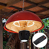 Outsunny 1.5KW Outdoor Ceiling Aluminium Halogen Electric Patio Heater w/ Remote Control - Red