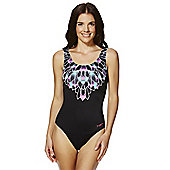 Zoggs Graphic Print Scoop Back Swimsuit - Black