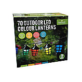 70 Multi-Coloured Outdoor LED Lantern Lights