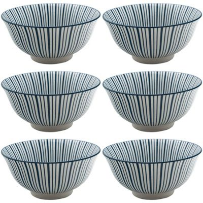 Stripe Design Patterned Cereal Breakfast Bowl - White Blue 153mm x3