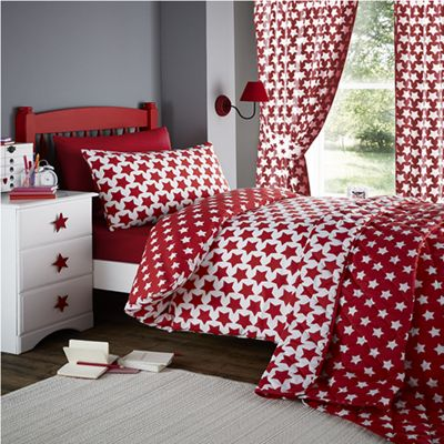 Buy Red And White Star Double Duvet And Matching Curtains