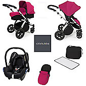 ickle bubba Stomp V3 Maxi Cosi All in One Travel System - Pink (Silver Chassis)