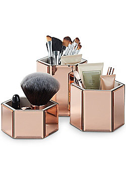 Beautify Rose Gold Mirrored Hexagon Storage Pots - Set of 3