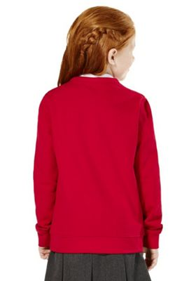 Girls Embroidered Jersey School Cardigan with As New Technology 4-5 years Red