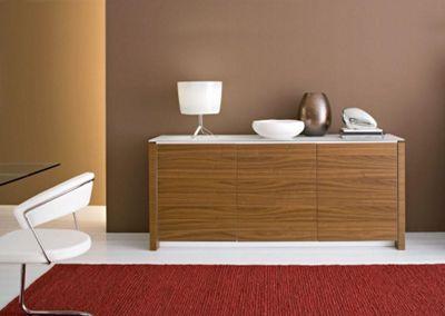 Calligaris mag 3 door sideboard, white top, walnut