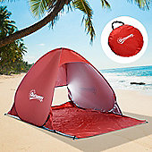 Outsunny 2 Person Pop up Beach Tent Hiking UV Protection Patio Sun Shade Shelter (Red)