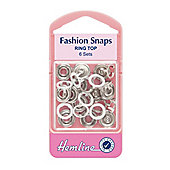 Hemline 11mm White Ring Top Fashion Snaps (6 Sets)