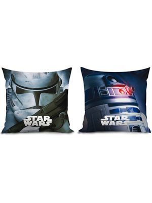 Star Wars Reversible Filled Cushion - R2D2 and Stormtrooper