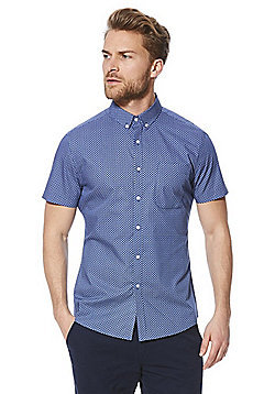 F&F Printed Short Sleeve Slim Fit Shirt - Blue