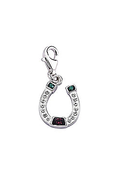 Rhodium Coated Sterling Silver Multi Coloured Crystal Horse Shoe Link Charm