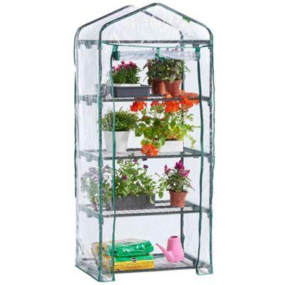 VonHaus 4 Tier Mini Plastic PVC Greenhouse