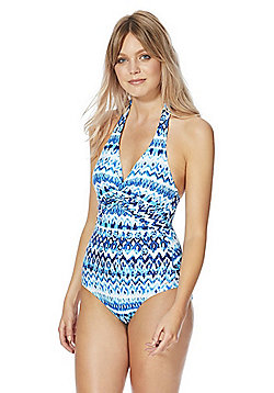 F&F Batik Print Halterneck Shaping Swimsuit - Blue