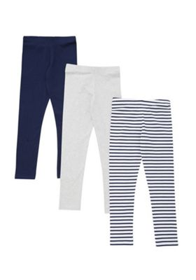 F&F 3 Pack of Plain and Striped Leggings Multi 5-6 years