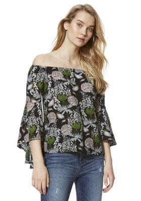 Izabel London Lily Print Bell Sleeve Bardot Top Black Multi 8
