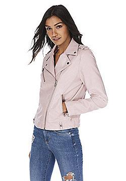 F&F PU Biker Jacket - Blush pink