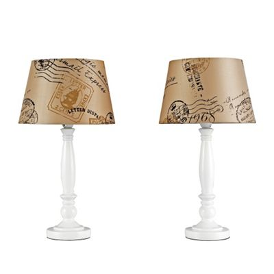 Pair of Shabby Chic Style Table Lamps, Cream & Mocha Stamp Design