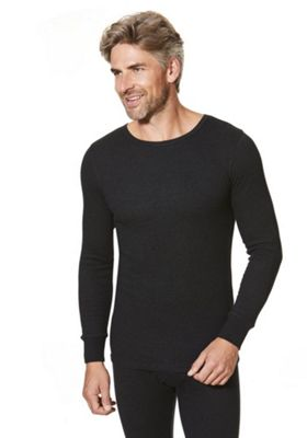 F&F Ribbed Long Sleeve Thermal Top L Black