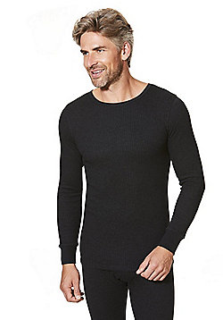 F&F Ribbed Long Sleeve Thermal Top - Black
