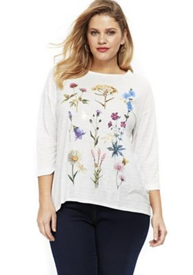 Evans Foil Floral Print Plus Size Top White 30-32