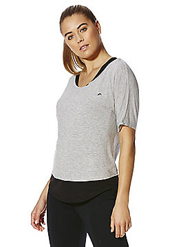 F&F Active Glitter Strap T-Shirt with Integrated Racerback Vest - Grey