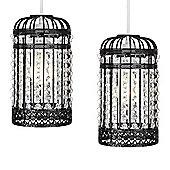 Pair of Birdcage Ceiling Pendant Light Shades, Black