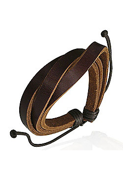 Men's Dark Brown Leather Multi-strand Bracelet by Urban Male