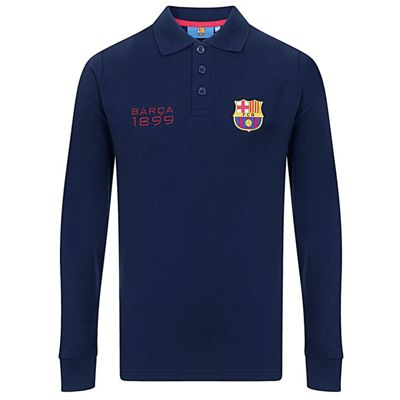 FC Barcelona Boys Long Sleeve Polo Shirt Navy 6-7 Years