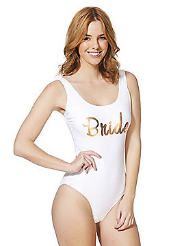 F&F Bride Slogan Swimsuit - White