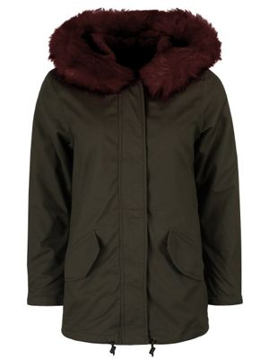 Brave Soul Panther Women's Parka With Burgundy Fur Lining