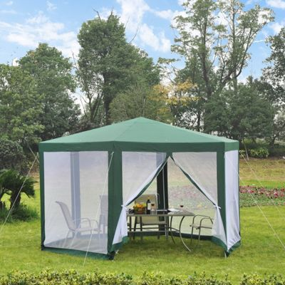 Outsunny Netting Gazebo Hexagon Tent Canopy Outdoor Shade Water-resistant (Green)