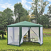 Outsunny Netting Gazebo Hexagon Tent Canopy Outdoor Shade Waterproof (Green)
