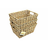 Woodluv 3 X Seagrass Shelf Storage Baskets