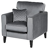 Fox & Ivy Dexter Velvet Armchair, Grey