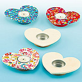 Wooden Heart Tealight Holders (Pack Of 4)