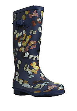 F&F Butterfly Print Fleece Lined Wellies - Navy