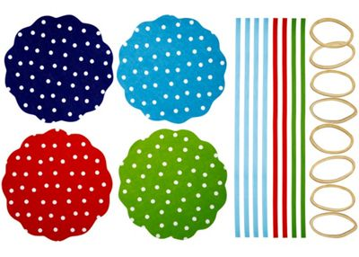Home made Pack of Eight Polka Dot Patterned Fabric Jam Cover Kits