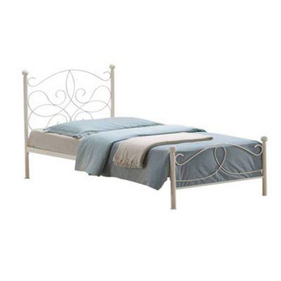 Ivory Curved Metalwork Bed Frame - Single 3ft